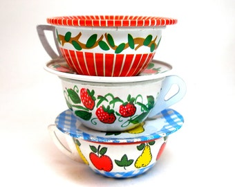 60s Tin Toy Tea Cups & Saucers, Owl and fruit, red, white and blue.