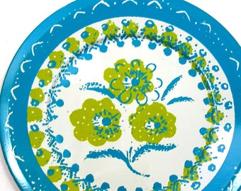 50's tin toy tea plate with Flowers in turquoise & green.