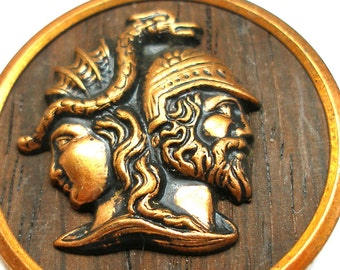 "LG Jupiter & Minerva Antique Mythology BUTTON, Victorian storybook button, 1.25""."