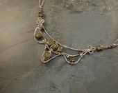 Viking and Medieval Armor Statement Inspired Necklace - Sterling Silver - Pyrite - Freshwater Pearl - Two Tone - Wearable Art Jewelry