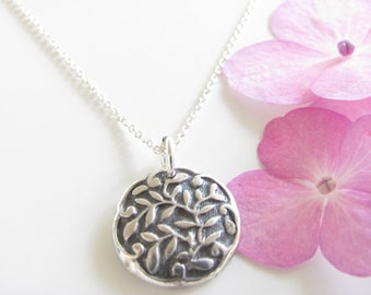 Simple Pendant of Leaves Necklace - Oxidized - Hand Made from Fine Silver - Sterling Chain - Ready to Ship