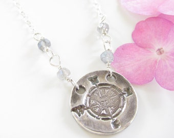 Compass and Labradorite Necklace - Hand Made from Fine Silver- Sterling Chain - Ready to Ship