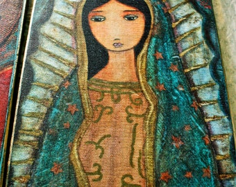 Your Choice Any Giclee Print Reproduction Mounted On 11 x 17 inches Wood Block - Folk Art  by FLOR LARIOS