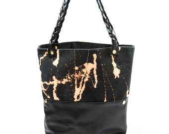 These Paths Tote Bag- Splattered Black Canvas and Leather Bag with Leather Braided Straps
