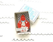 SALE - Lobster - Instant Comfort Pocket Box - everything will be ok - cheer up and consolation box - lobster love - red - gift