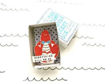 Lobster - Instant Comfort Pocket Box - everything will be ok - cheer up and consolation box - lobster love - red - gift