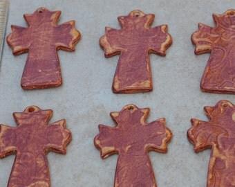 Pottery Cross PENDANT Bead in Autumn