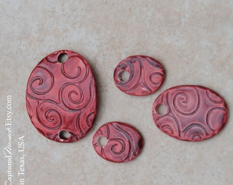 Handmade Pottery Beads 4 piece set, in a smaller Elli cuff with matching beads for earrings and a pendant in Marsala