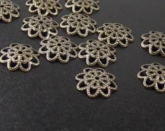 CLEARANCE Bronze Bead Cap 100 Antique Bronze Flower Filigree Victorian 13mm (1142cap13z1)os