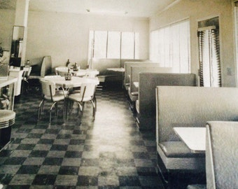 Vintage diner interior black and white photo 60s Atlanta