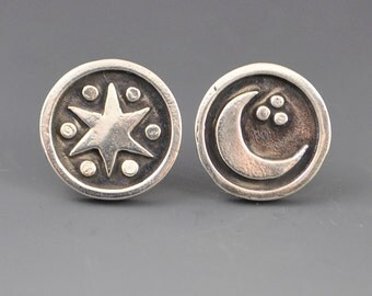Star Moon Stud Post Earrings