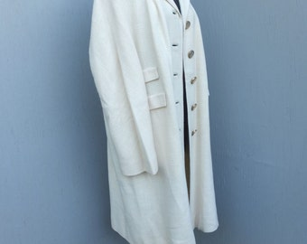 CLASSIC 1960s/70s IVORY Dress Coat / Lightweight Winter, Spring or Summer Dress Coat by Fashionfila