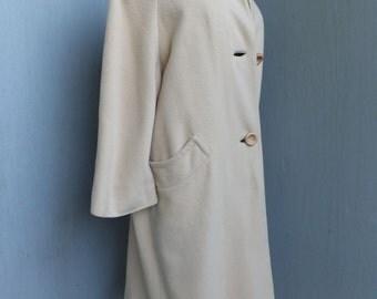 Vintage Cashmere Coat, Ladies Cashmere Coat, Camel Cashmere Coat, Large