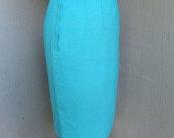 1970s Skirt, Frank Lee California, Career Skirt, 70s Pencil Skirt, Separates, Robins Egg Blue, Small, Waist 24
