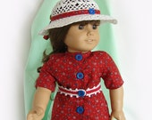 Doll Red Dress and White Hat 1960-70s American Girl Doll Dress and Hat 18 Inch Doll Dress Hat Shoes Red White & Blue AG Doll Dress Doll Hat