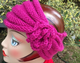 Knit  Turban Fuscia Headband Women Teen