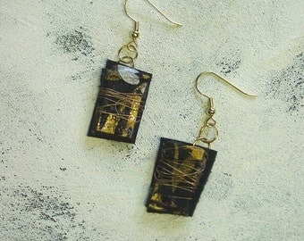 Black and gold dangle earrings upcycled artist palette in winter colors