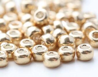 20 Grams Japanese Miyuki 6/0 Seed Bead - Gold Galvanized - 4mm (6-1052)