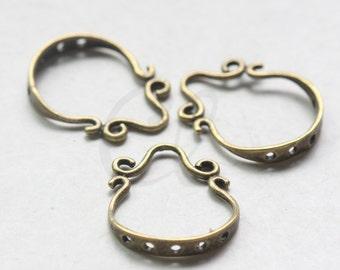 4pcs Antique Brass Tone Brass Base Earring Findings Components - 17x12mm (5480Z-W-176)
