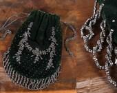 Vintage 20s Purse // Flapper Purse // Vevlet Purse // 1920s Purse // Steel Cut Beads // Fringe Purse