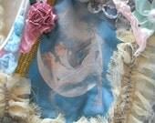 MidWinter Sale 20% Off Vest Collage Wearable Art Vintage 20s Couple Work of Art - Handmade Vest - Soft Green