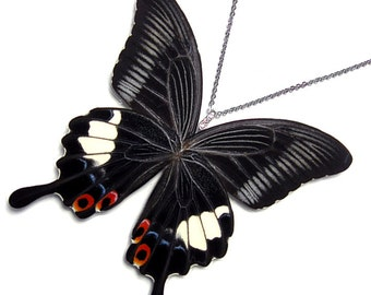 Real Butterfly Wing Necklace / Pendant (WHOLE Large Papilio Iswara Butterfly - W087)