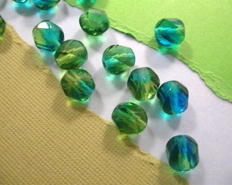 Czech Spiral Faceted Round 8mm Olive and Aqua Blue Mix Transparent Beads - 15 Count