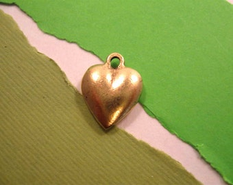 Nunn Design Large Heart Puffy Charm in Antique Gold
