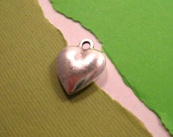 Nunn Design Large Puffy Heart Charm in Antique Silver