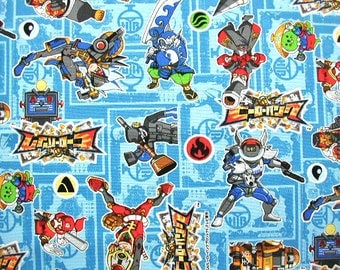 Licensed fabric by ©SEGA Cartoon Character Hero Bank  Japanese fabric 50 cm by  106  cm or 19.6 by 42  inches Half meter