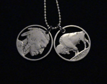 cut coin jewelry set - Buffalo and Indian Chief pendants - 1935 and 1927 - LOW PRICE