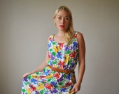 1970s Primary Florals Sundress~Size Large to Extra Large