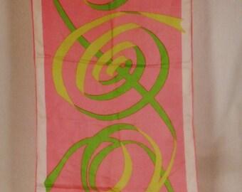 SILK Scarf Designer NASHARR Signed Swirls  design  app inches silk  48 x 15 inches Pink and Green hand hemmed Edges 36 X 34 in