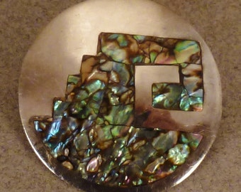 ALVARADO Signed  TAXCO Sterling M O P Inlaid design Round  Mexican  Brooch Pendant Signed No 3 eagle app. 1 3/8 in diam