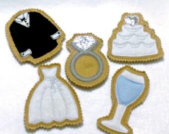Wedding favor felt cookies Felt play pretend cookies, wedding dress, wedding ring, cake, coat, glass #1004