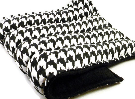 LARGE Microwave Heat Bag, All Purpose Large Heating Pad, Hot Pack Cold Pack, rice flax, houndstooth black white