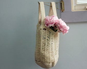 Cotton Mesh Market Tote Bag,  Custom - Chose Color, Net Bag, Crochet Market Bag,  Book Bag