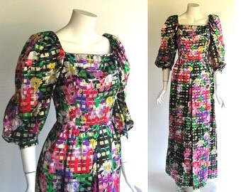 Novarese Evening Gown / Vintage 1970's Long Dress / Black Floral Silk / Couture Gown by Michael Novarese of California / size 8 or size 10