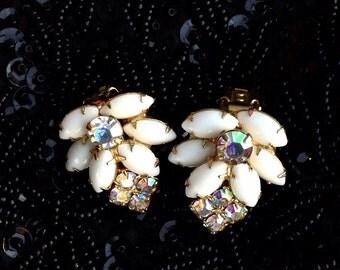 Wedding Aurora Borealis Rhinestone White Cabachon Cluster Clipon Earrings