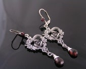 Garnet Earrings, Garnet Jewelry, Rose Earrings, Wire Wrapped Chandelier Earrings, January Birthstone Earrings, Romantic Jewelry