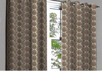Zaira Coffee Rings Grommet Lined Curtain in Textured Jacquard Weave Fabric Decor Housewares Window Treatment Drape Curtain Panels