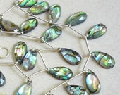 Rose Cut Extreme Color Natural AAA Topaz Abalone Doublet Briolette Beads 1/2 Strand  8mm x 16mm Rose Faceted