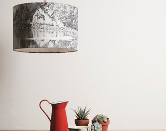 Lampshade Black & White landscape, ceiling fitting