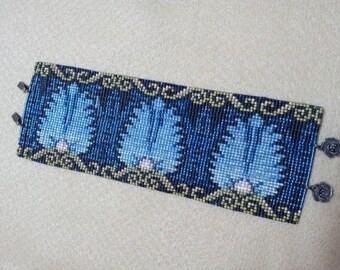 Egyptian Feathers Loom, Peyote or Brick Cuff Bracelet Bead Pattern