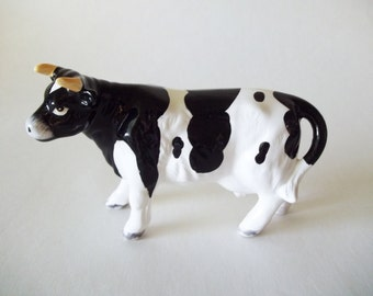 Enesco Holstein Cow Figurine, Black & White Ceramic Farm Animal, 1988