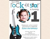 Little Rockstar Boy - Birthday Party Photo Invitation (Digital File - Printed Cards Also Available)