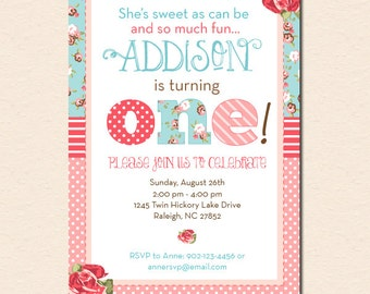 Shabby Chic - Vintage Roses & Patterns - Floral First Birthday Party Invitation (Digital File - Printed Cards Also Available)
