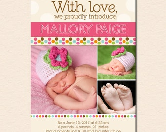 Mod Dot - Baby Girl Photo Birth Announcement (Digital File - Printed Cards Also Available)