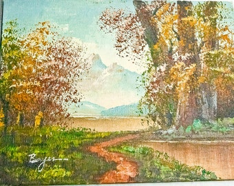 Original Hand Painted Oil Landscape On wooden Panel by Bayer