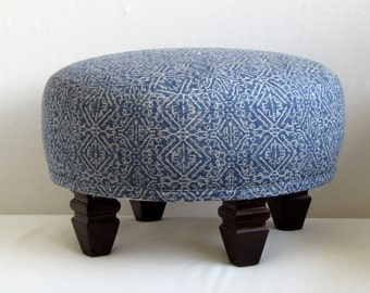 TUFFET in blue ikat, upholstered Stool/ottoman/tuffet/bench/seating furniture